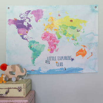 Little Explorers Club Childrens Illustrated Map Hanging