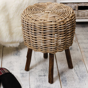 Grey Rattan Stool - furniture