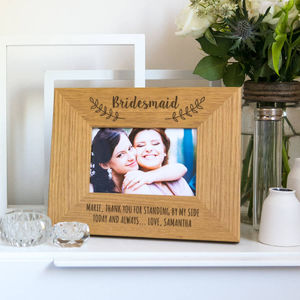 Thank You Bridesmaid Personalised Photo Frame - picture frames