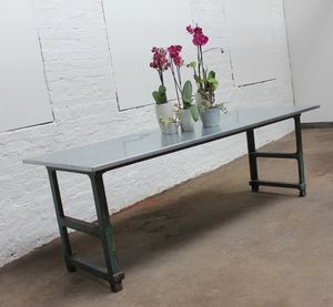 Saunders Zinc Table With Vintage Workbench Legs - furniture