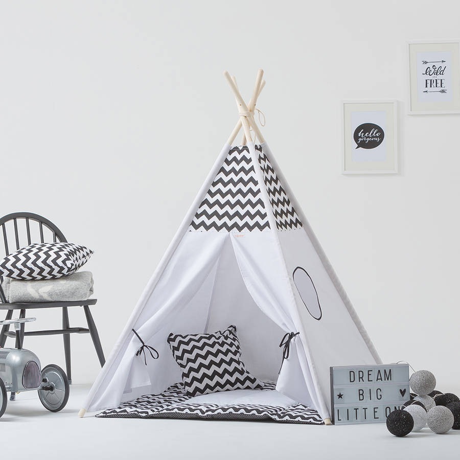 Monochrome Kids Teepee Tent Set With Window  sc 1 st  Notonthehighstreet.com & monochrome kids teepee tent set with window by grattify ...