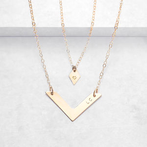 Personalised Diamond And Chevron Necklace Set - minimal jewellery