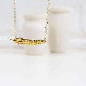 Gold Feather Necklace - modern-boho