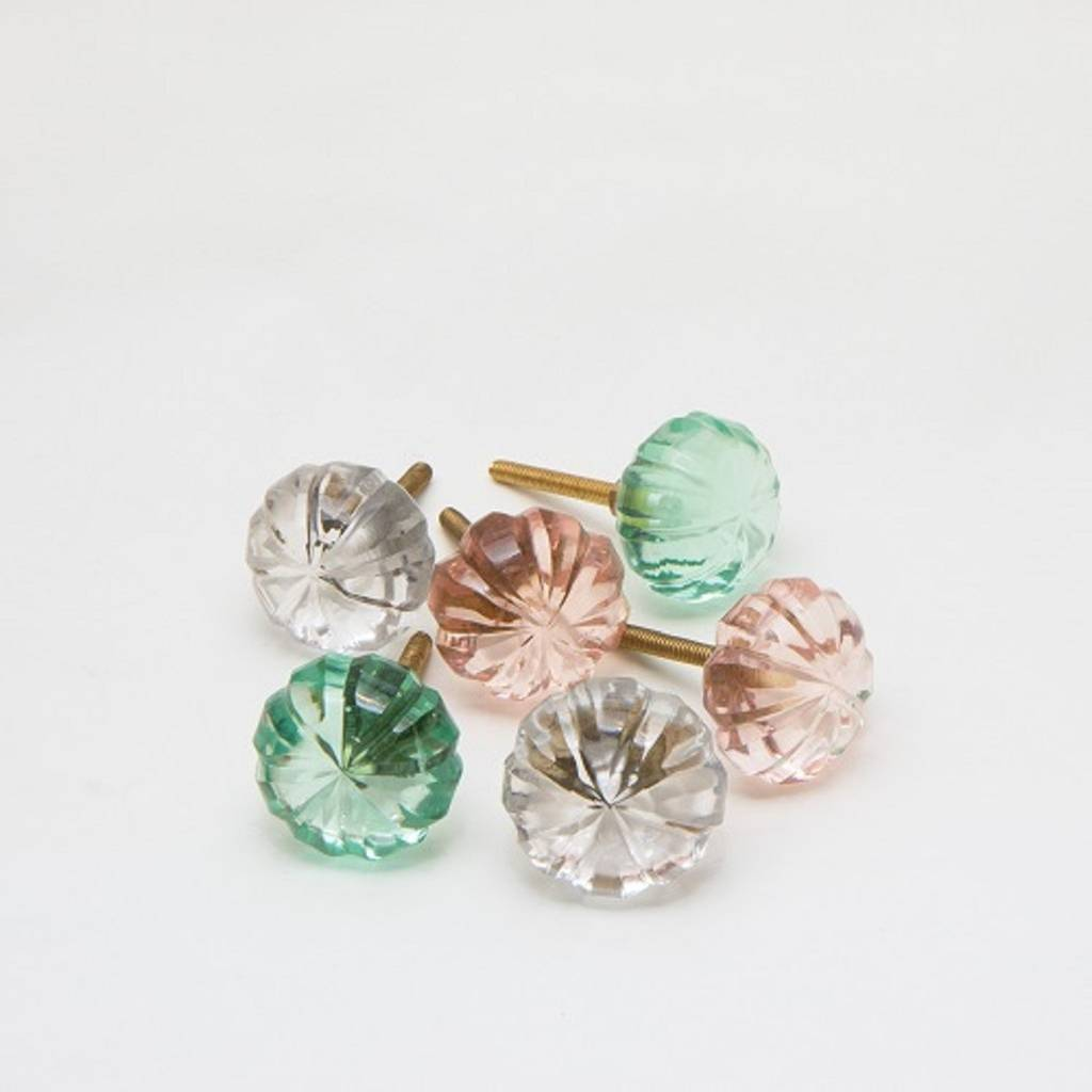 Set Of Six Cut Glass Miracle Round Glass Knobs