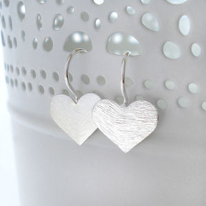 Sterling Silver Brushed Heart Earrings
