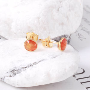 Gemstone Stud Earrings Set In 18ct Gold Vermeil - earrings