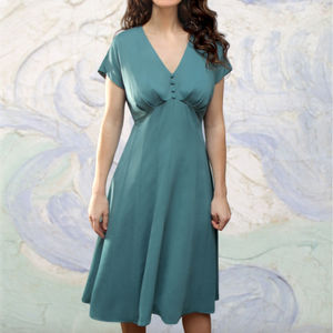 1930's Style Crepe Day Dress In A Tiffany Blue - women's fashion