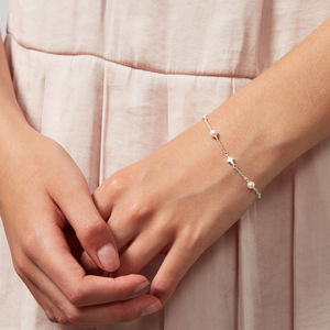 Holy Communion Pearl Station Cross Bracelet - children's jewellery