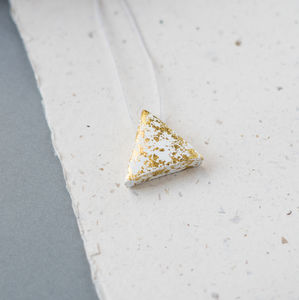 'Dapple' White And Gold Flecked Triangle Necklace