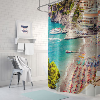 Positano Beach Fabric Shower Curtain