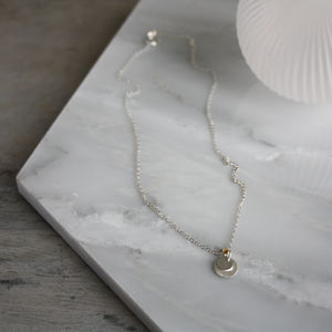 Delicate Silver Necklace With Silver Discs Pendant