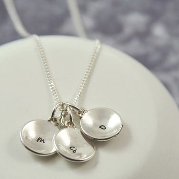 Personalised Sterling Silver Domed Initial Necklace