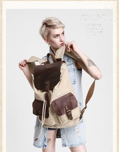Canvas And Leather Double Pocket Backpack