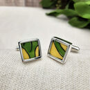 Art Deco Cufflinks In Sterling Silver, Clarice Cliff