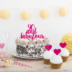 90 And Fabulous Party Birthday Cake Topper Set - decoration