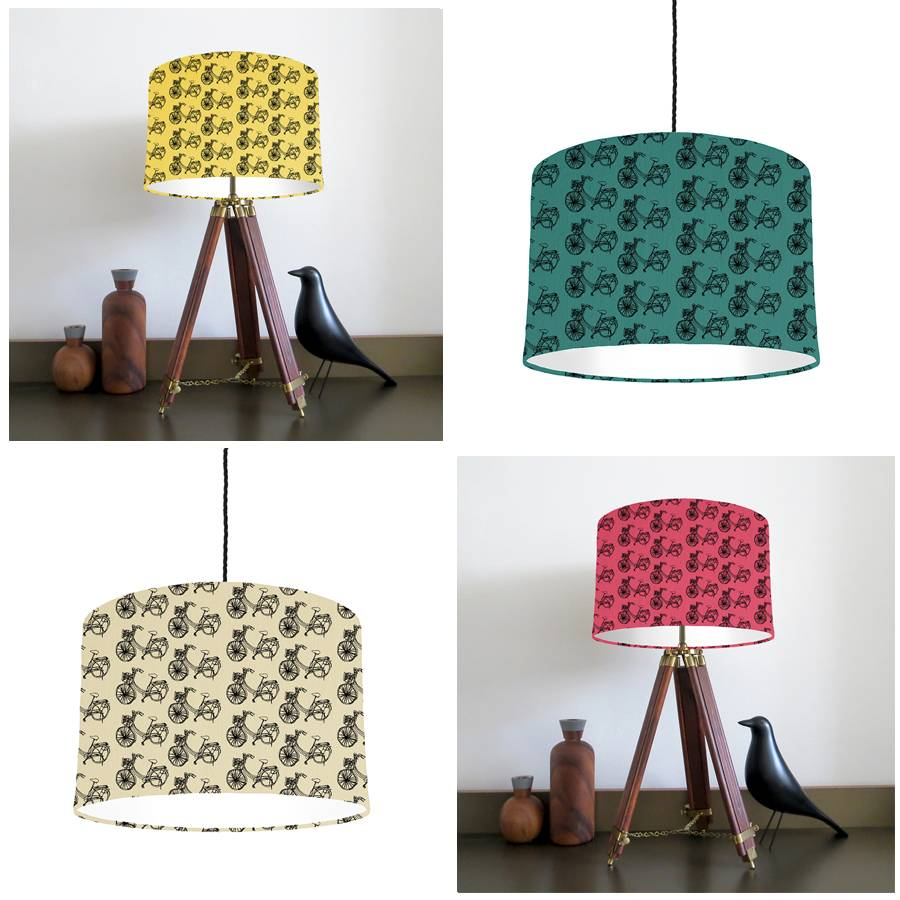 Bike lampshade mix and match by bymarie notonthehighstreet bike lampshades lemon jade natural cerise mozeypictures Image collections