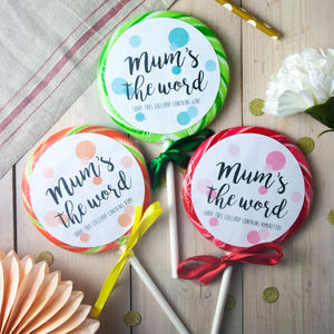 Three Boozy 'Mum's The Word' Lollipops