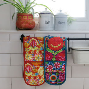 Kaffe Fassett Pattern Double Oven Gloves - oven gloves & mitts