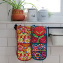 Fairtrade Kaffe Fassett Print Double Oven Gloves
