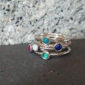Silver Hammered Gemstone Ring Stack - rings