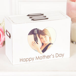 Personalised French White Heart Photo Box