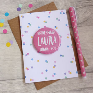 Thank You Bridesmaid Card With Badge