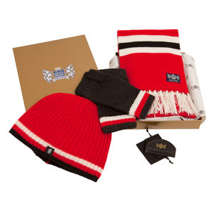 Luxury Cashmere Football Sets In Red Black And White