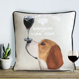 Beagle Cushion, Dog Au Vin Wine Gift