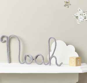 Personalised Name Sign Knitted And Wire - children's room accessories