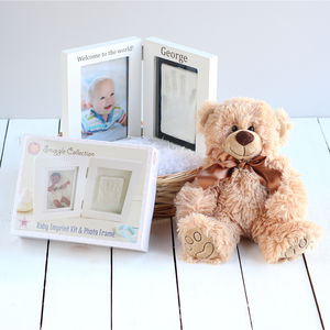 Personalised Baby Imprint Kit Photo Frame Teddy Basket - baby shower gifts & ideas