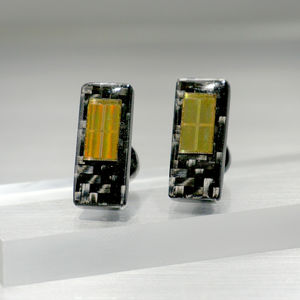 Carbon Fibre Slab Cufflinks With Computer Memory Chip