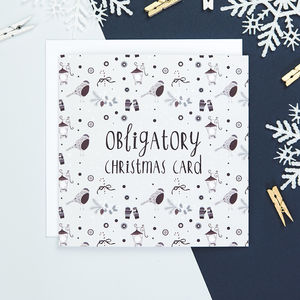 'Obligatory Christmas Card' Funny Christmas Card - cards & wrap