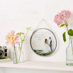Personalised Glass Framed Circle Any Photograph - best wedding gifts
