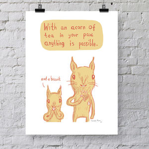 'Acorn Tea' Screen Print - posters & prints