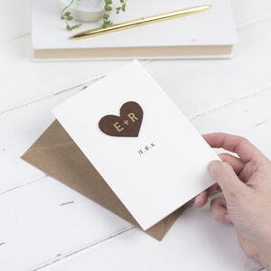 Leather Heart Anniversary Card