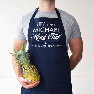 Personalised Head Chef Apron - kitchen