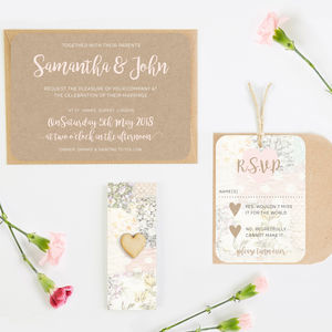 Wedding Invitation Set Kraft Floral Patchwork - engagement & wedding invitations
