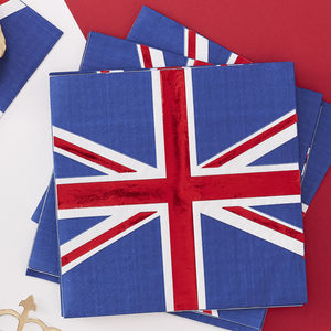 Union Jack Foiled Royal Paper Napkins Sixteen Pack - decoration