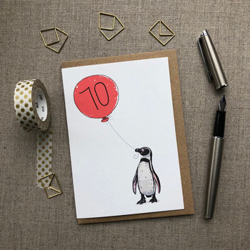 Personalised 70th Birthday Card Penguin Design