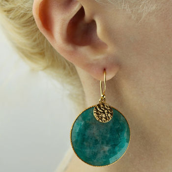 Vermeil Amazonite And Golden Nugget Earrings