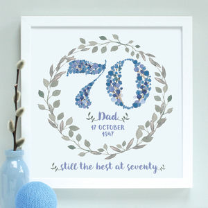 Personalised 70th, 80th, 90th Birthday Framed Print - 70th birthday gifts