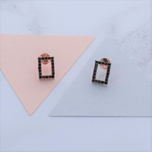 Black Zircon Rose Gold Square Earrings - earrings