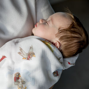 Bamboo Baby Swaddle Blanket, Little Gulls - blankets, comforters & throws