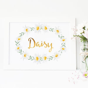 Personalised Daisy And Gold Foil Baby Nursery Print - posters & prints