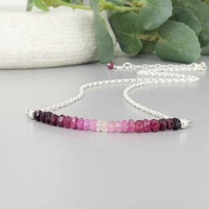 Ruby Ombre Necklace, Sterling Silver
