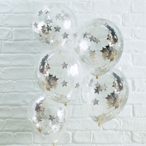 Pack Of Five Silver Star Confetti Clear Party Balloons - decoration