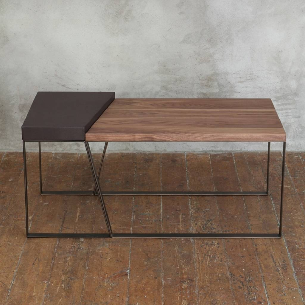 Oregon Coffee Table Walnut: Handcrafted Leather Walnut Coffee Table By Cosywood