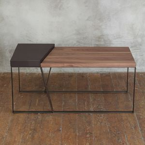 Handcrafted Leather Walnut Coffee Table - furniture
