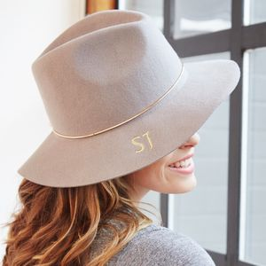 Embroidered Wide Brim Fedora Hat - gift matcher
