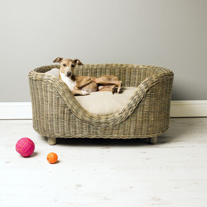 Charley Chau Raised Oval Rattan Pet Bed - beds & sleeping